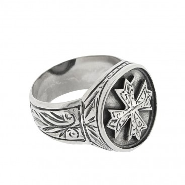 Sterling Silver Medieval Byzantine Engraved Cross Ring ~ Savati 295