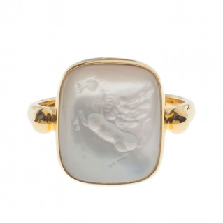 Solid Gold Intaglio Seal Stone Mother of Pearl Ring with Carved Pegasus ~ Savati 296