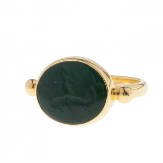 Solid Gold Intaglio Seal Stone Bloodstone Ring with Eros ~ Savati 297