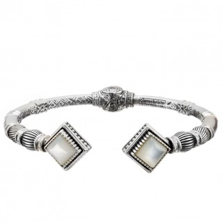 Gerochristo 6393N ~ Sterling Silver & Stones Medieval Hinged Cuff Bracelet