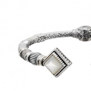 Gerochristo 6393N ~ Sterling Silver & Stones Medieval Hinged Cuff Bracelet