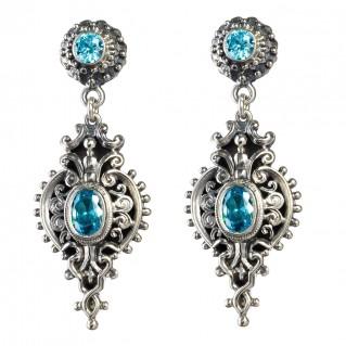 Gerochristo 1545N ~ Sterling Silver Medieval-Byzantine Ornate Dangle Earrings