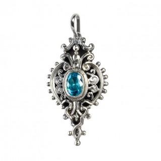 Gerochristo 1545N ~ Sterling Silver & Blue Zircon Ornate Medieval-Byzantine Pendant