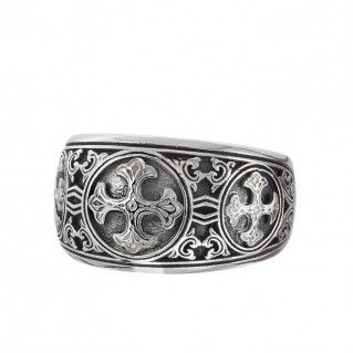 Gerochristo 2985N ~ Sterling Silver Byzantine Medieval Band Ring with Crosses