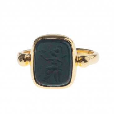 Solid Gold Intaglio Seal Stone Bloodstone Ring with Carved Athena ~ Savati 298