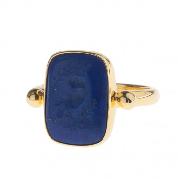 Solid Gold Intaglio Seal Stone Lapis Ring with Carved Owl ~ Savati 299