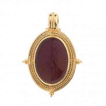 Solid Gold Intaglio Seal Stone Carnelian Pendant with Athena ~ Savati 300