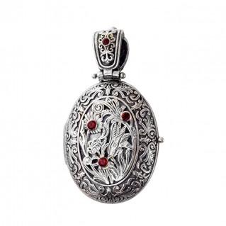 Gerochristo 3338N ~ Sterling Silver Medieval Floral Oval Locket Pendant