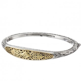 Gerochristo 6397N ~ Solid Gold and Silver Medieval-Byzantine Engraved Bangle Bracelet