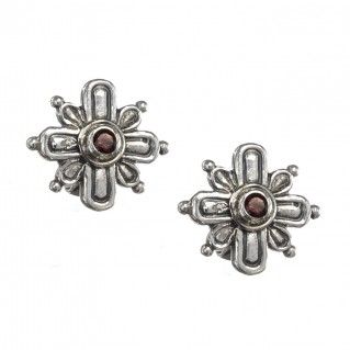 Gerochristo 1399N ~ Sterling Silver & Garmet Byzantine Medieval Stud Earrings