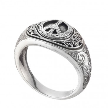 Gerochristo 2990N ~ Sterling Silver Engraved Peace Band Ring