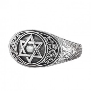 Gerochristo 2992N ~ Sterling Silver Star of David Band Ring