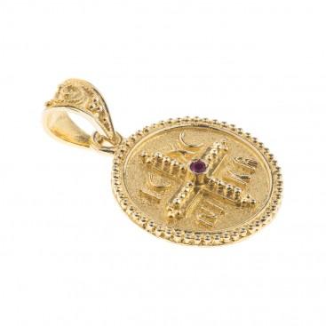 14K Solid Gold and Ruby Conqueror's Cross Constantinato Round Pendant