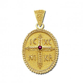 14K Solid Gold and Ruby Conqueror's Cross Constantinato Oval Pendant