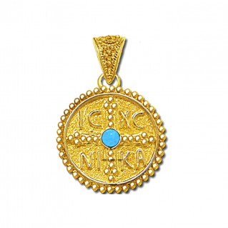 14K Solid Gold and Turquoise Conqueror's Cross Constantinato Round Pendant - M