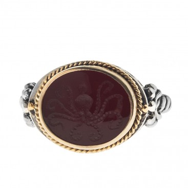 Solid Gold & Silver Intaglio Seal Stone Carnelian Ring with Carved Octopus ~ Savati 301