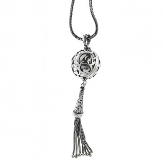 Sterling Silver Byzantine Fringed Ball Necklace ~ Savati 303