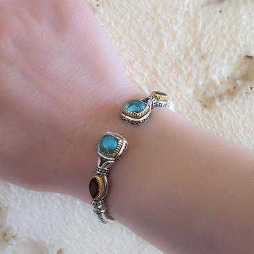 Gerochristo P6380N~ Sterling Silver Multi-Stones Medieval Cuff Bracelet