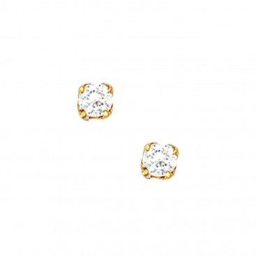 18K Solid Yellow Gold Tiny Stud Earrings with White Zircon