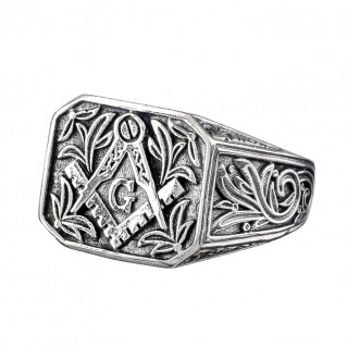 Gerochristo 2950N ~ Sterling Silver Masonic Engraved Band Ring