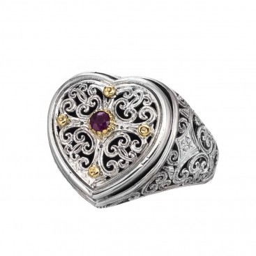 Gerochristo 20140N ~ Solid Gold & Silver Cocktail Filigree Heart Ring