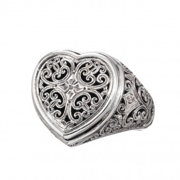 Gerochristo 20100N ~ Sterling Silver Cocktail Filigree Heart Ring