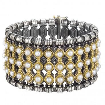 Gerochristo 6019 ~ Solid 18K Gold, Sterling Silver & Pearls Medieval Bracelet
