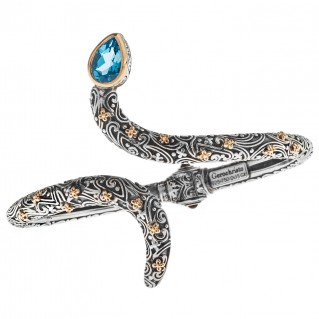 Gerochristo 6446N ~ Solid Gold & Sterling Silver Snake Hinged Cuff Bracelet