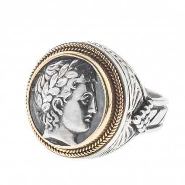God Apollo Single Sided Coin Ring ~ 22K Solid Gold and Silver ~ Savati 264