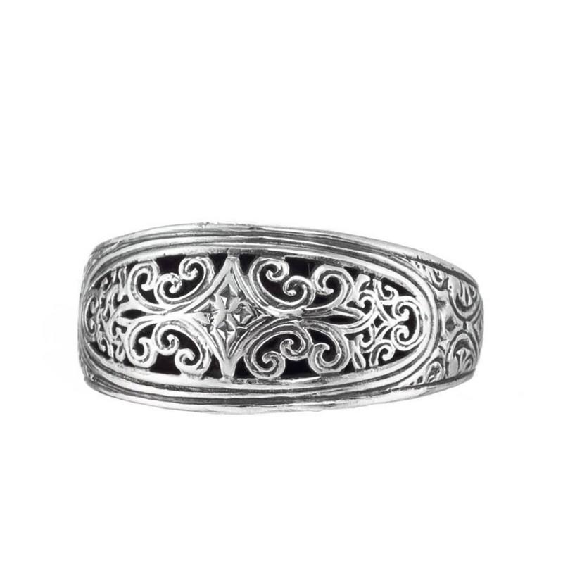 d22ddc1eb14f2 Gerochristo 20135N ~ Sterling Silver Medieval-Byzantine Filigree Band Ring