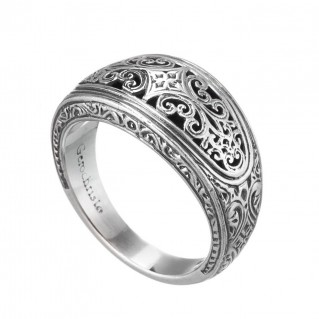 Gerochristo 20135N ~ Sterling Silver Medieval-Byzantine Filigree Band Ring