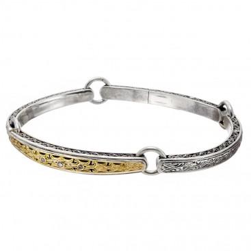 Gerochristo 6423N ~ Solid Gold and Silver Diamond Medieval Byzantine Engraved Bangle Bracelet