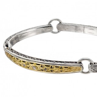 Gerochristo 6423N ~ Solid Gold and Silver Diamond Medieval Byzantine Engraved Bangle Bracelet