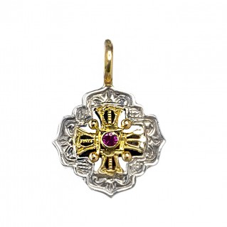 Gerochristo 1056N ~ Solid Gold and Sterling Silver Medieval Byzantine Charm Pendant