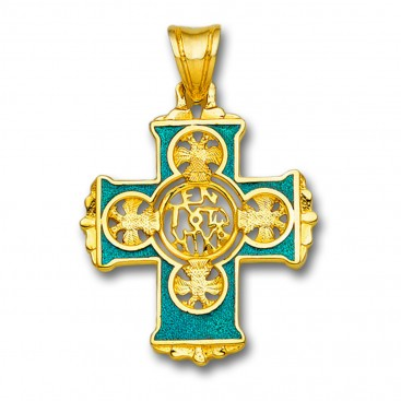 En Touto Nika - In This Be Victorious ~ 18K Solid Gold and Hot Enamel Byzantine Cross Pendant