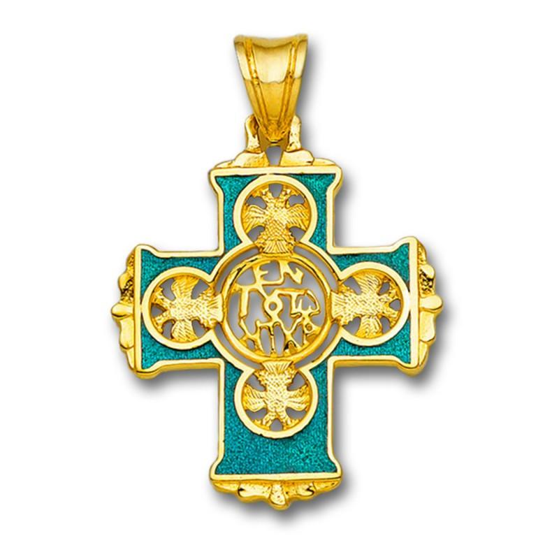 Banquete escaramuza Giro de vuelta  En Touto Nika-In This Be Victorious - Solid Gold & Hot Enamel Byzantine  Cross Pendant